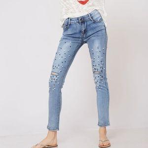Denim - beaded trim washed skinny denim jean